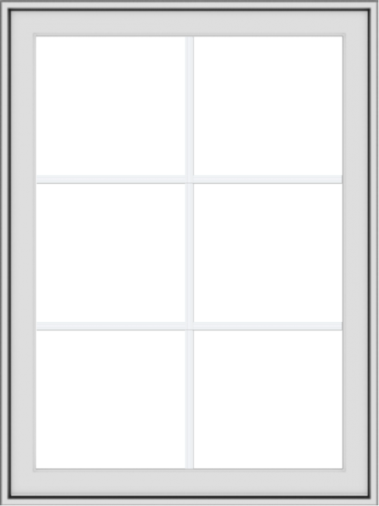 WDMA 30x40 (29.5 x 39.5 inch) White uPVC Vinyl Push out Awning Window with Colonial Grids Exterior