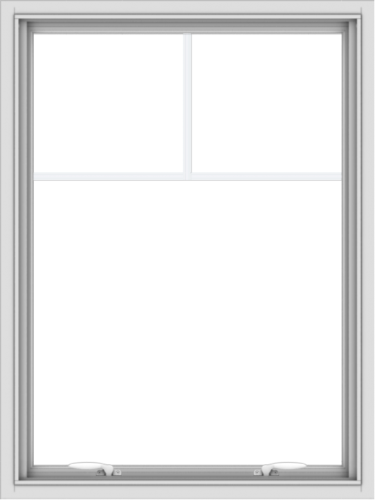 WDMA 30x40 (29.5 x 39.5 inch) White uPVC Vinyl Push out Awning Window with Fractional Grilles