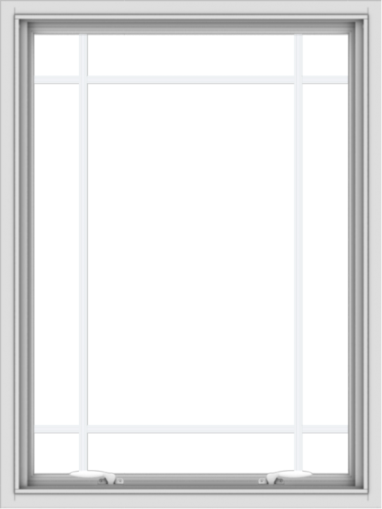 WDMA 30x40 (29.5 x 39.5 inch) White uPVC Vinyl Push out Awning Window with Prairie Grilles