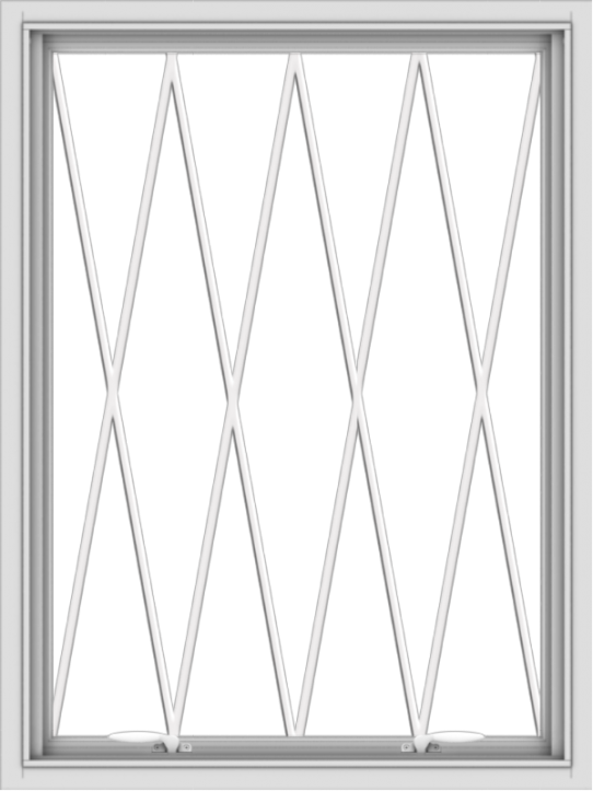 WDMA 30x40 (29.5 x 39.5 inch) White uPVC Vinyl Push out Awning Window without Grids with Diamond Grills