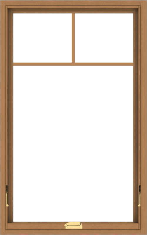 WDMA 30x48 (29.5 x 47.5 inch) Oak Wood Dark Brown Bronze Aluminum Crank out Awning Window with Fractional Grilles