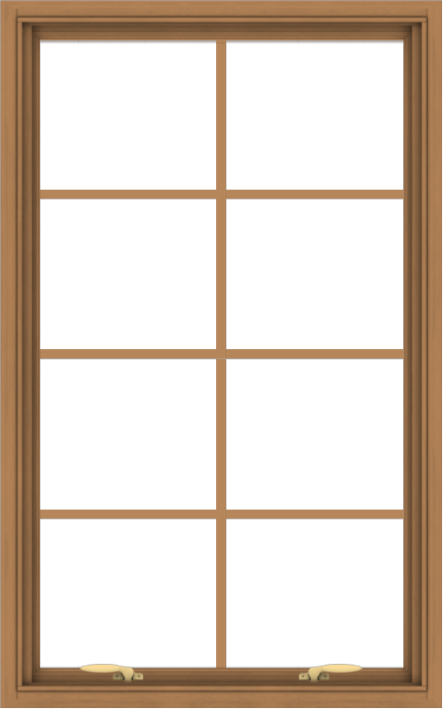 WDMA 30x48 (29.5 x 47.5 inch) Oak Wood Green Aluminum Push out Awning Window with Colonial Grids Interior