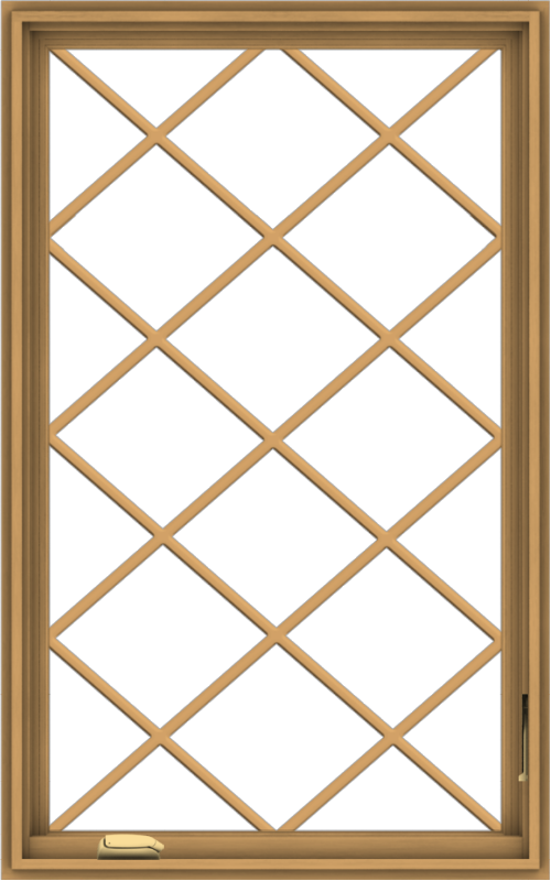 WDMA 30x48 (29.5 x 47.5 inch) Pine Wood Dark Grey Aluminum Crank out Casement Window without Grids with Diamond Grills
