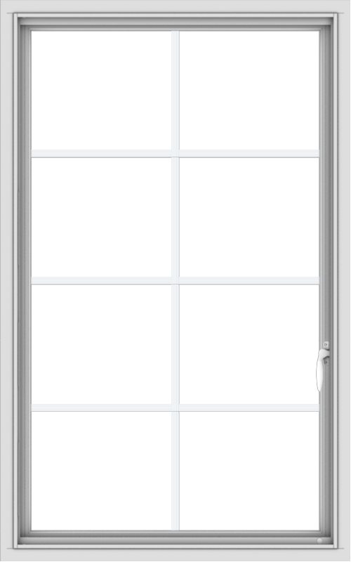 WDMA 30x48 (29.5 x 47.5 inch) uPVC Vinyl White push out Casement Window with Colonial Grids