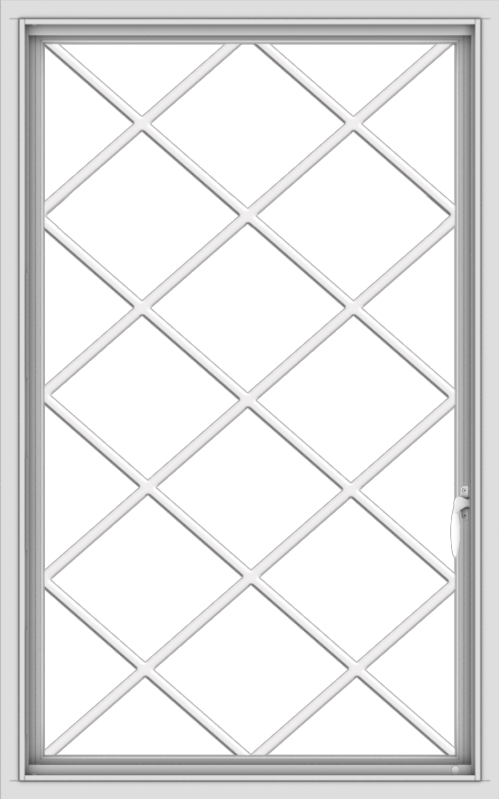 WDMA 30x48 (29.5 x 47.5 inch) uPVC Vinyl White push out Casement Window without Grids with Diamond Grills