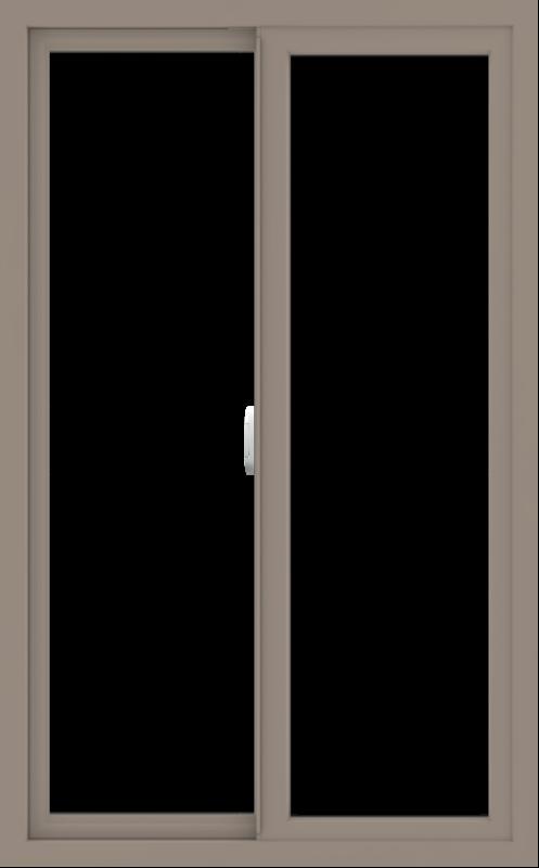 WDMA 30x48 (29.5 x 47.5 inch) Vinyl uPVC Brown Slide Window without Grids Interior