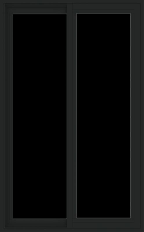 WDMA 30x48 (29.5 x 47.5 inch) Vinyl uPVC Black Slide Window without Grids Exterior