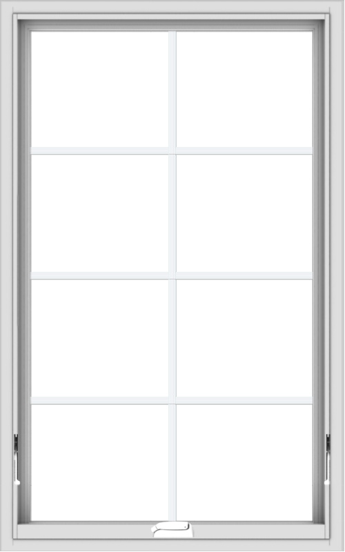 WDMA 30x48 (29.5 x 47.5 inch) White Vinyl uPVC Crank out Awning Window with Colonial Grids Interior