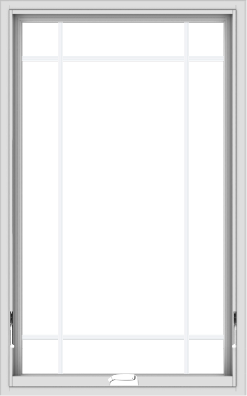 WDMA 30x48 (29.5 x 47.5 inch) White Vinyl uPVC Crank out Awning Window with Prairie Grilles