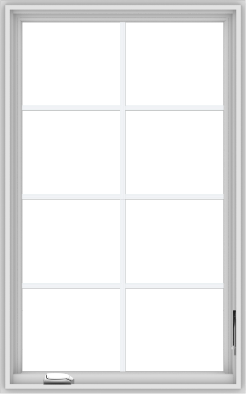 WDMA 30x48 (29.5 x 47.5 inch) White Vinyl uPVC Crank out Casement Window with Colonial Grids