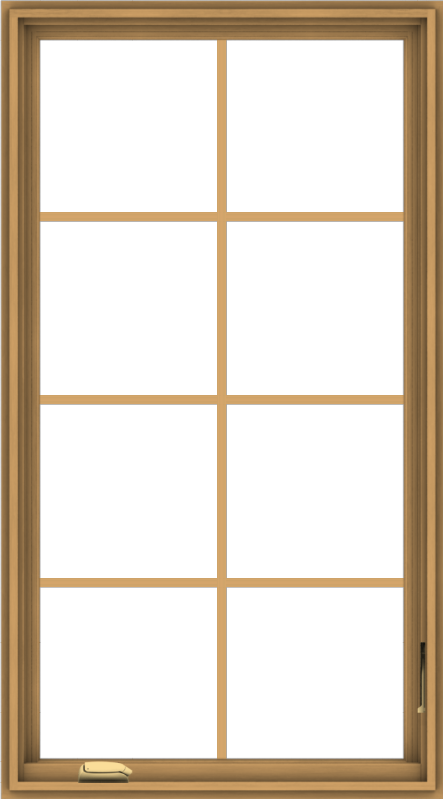 WDMA 30x54 (29.5 x 53.5 inch) Pine Wood Dark Grey Aluminum Crank out Casement Window with Colonial Grids