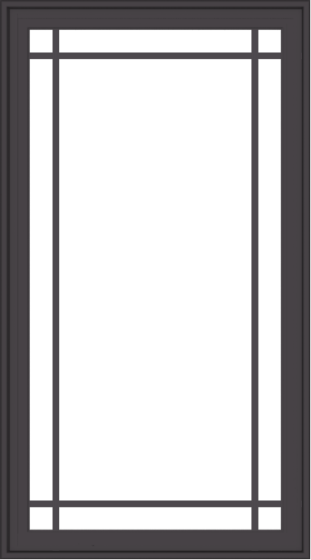WDMA 30x54 (29.5 x 53.5 inch) Pine Wood Dark Grey Aluminum Crank out Casement Window with Prairie Grilles