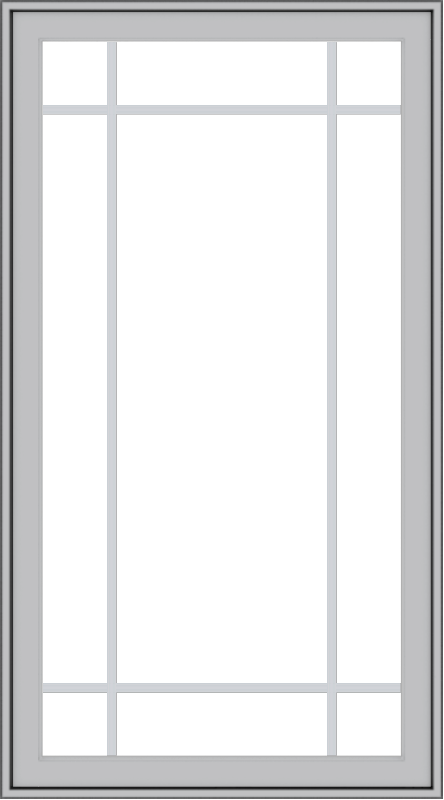 WDMA 30x54 (29.5 x 53.5 inch) Pine Wood Light Grey Aluminum push out Casement Window with Prairie Grilles