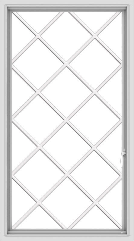 WDMA 30x54 (29.5 x 53.5 inch) uPVC Vinyl White push out Casement Window without Grids with Diamond Grills