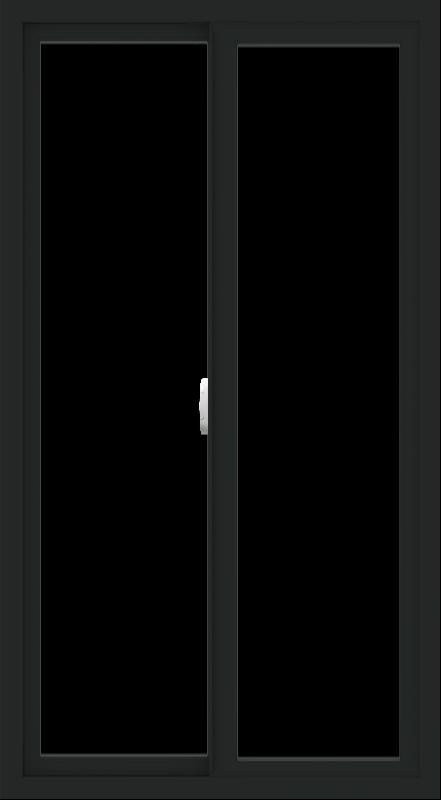 WDMA 30x54 (29.5 x 53.5 inch) Vinyl uPVC Black Slide Window without Grids Interior