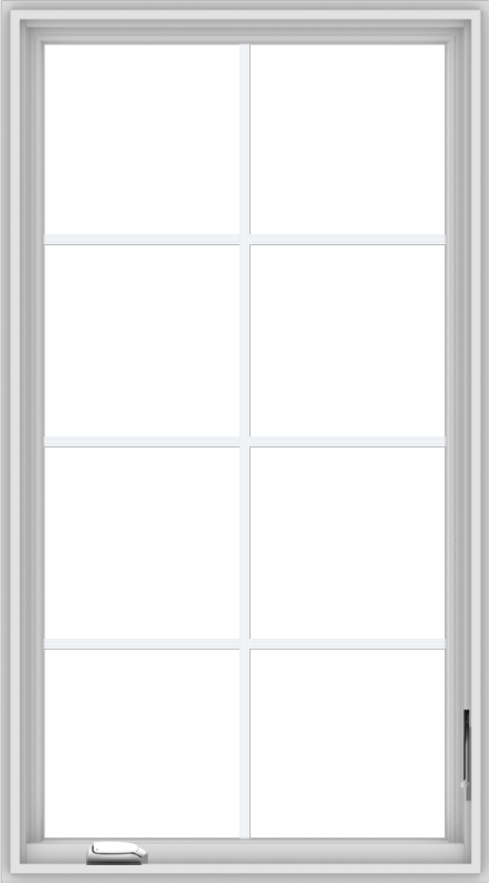 WDMA 30x54 (29.5 x 53.5 inch) White Vinyl uPVC Crank out Casement Window with Colonial Grids
