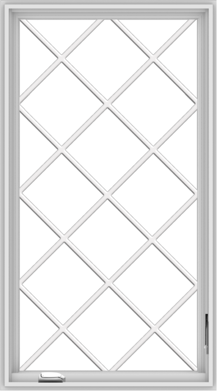 WDMA 30x54 (29.5 x 53.5 inch) White Vinyl uPVC Crank out Casement Window without Grids with Diamond Grills