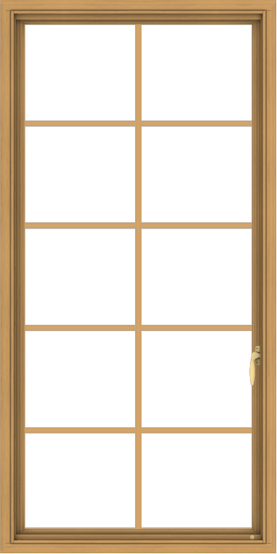 WDMA 30x60 (29.5 x 59.5 inch) Pine Wood Light Grey Aluminum Push out Casement Window with Colonial Grids