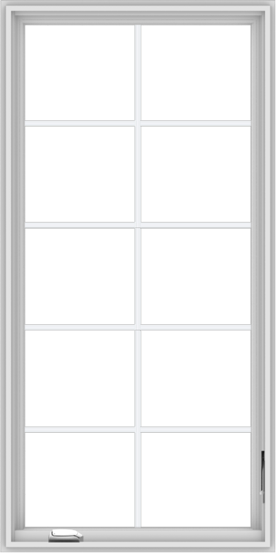 WDMA 30x60 (29.5 x 59.5 inch) White Vinyl uPVC Crank out Casement Window with Colonial Grids
