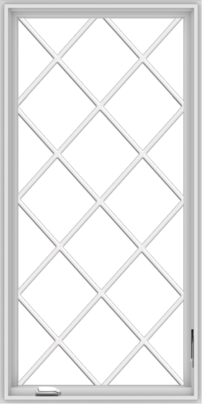 WDMA 30x60 (29.5 x 59.5 inch) White Vinyl uPVC Crank out Casement Window without Grids with Diamond Grills