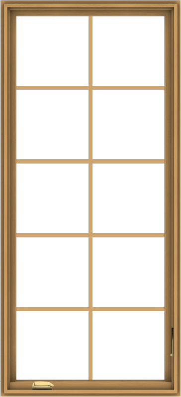 WDMA 30x66 (29.5 x 65.5 inch) Pine Wood Dark Grey Aluminum Crank out Casement Window with Colonial Grids