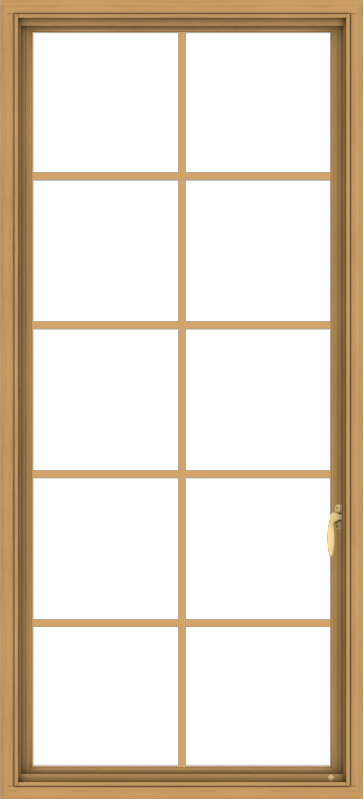 WDMA 30x66 (29.5 x 65.5 inch) Pine Wood Light Grey Aluminum Push out Casement Window with Colonial Grids