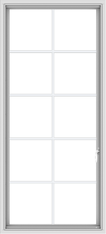 WDMA 30x66 (29.5 x 65.5 inch) White Vinyl uPVC Push out Casement Window with Colonial Grids