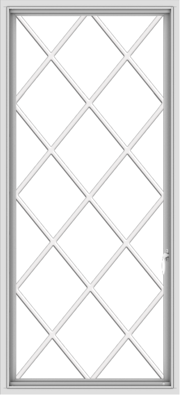 WDMA 30x66 (29.5 x 65.5 inch) White Vinyl uPVC Push out Casement Window without Grids with Diamond Grills