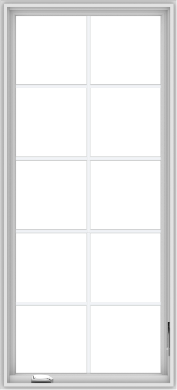 WDMA 30x66 (29.5 x 65.5 inch) White Vinyl uPVC Crank out Casement Window with Colonial Grids