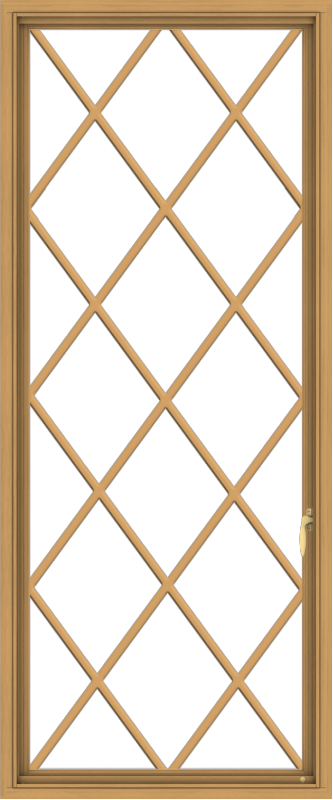WDMA 30x72 (29.5 x 71.5 inch) Pine Wood Light Grey Aluminum Push out Casement Window without Grids with Diamond Grills