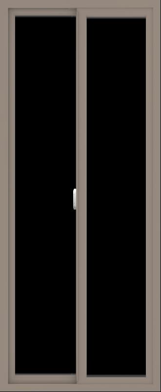 WDMA 30x72 (29.5 x 71.5 inch) Vinyl uPVC Brown Slide Window without Grids Interior