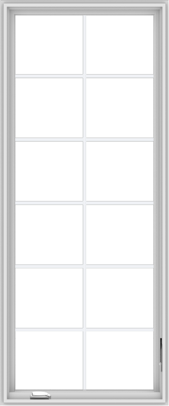 WDMA 30x72 (29.5 x 71.5 inch) White Vinyl uPVC Crank out Casement Window with Colonial Grids