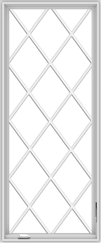 WDMA 30x72 (29.5 x 71.5 inch) White Vinyl uPVC Crank out Casement Window without Grids with Diamond Grills