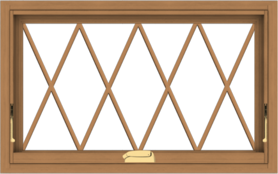 WDMA 32x20 (31.5 x 19.5 inch) Oak Wood Dark Brown Bronze Aluminum Crank out Awning Window without Grids with Diamond Grills