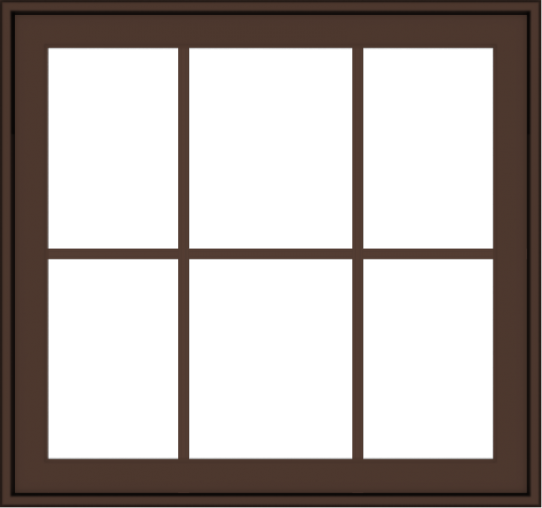 WDMA 32x30 (31.5 x 29.5 inch) Oak Wood Dark Brown Bronze Aluminum Crank out Awning Window with Colonial Grids Exterior