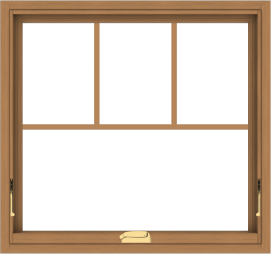 WDMA 32x30 (31.5 x 29.5 inch) Oak Wood Dark Brown Bronze Aluminum Crank out Awning Window with Fractional Grilles