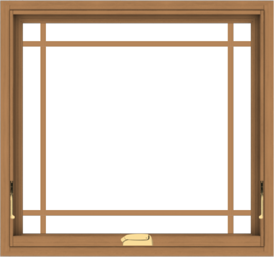 WDMA 32x30 (31.5 x 29.5 inch) Oak Wood Dark Brown Bronze Aluminum Crank out Awning Window with Prairie Grilles