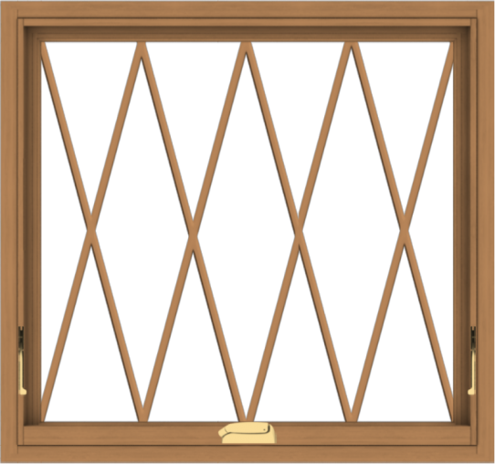WDMA 32x30 (31.5 x 29.5 inch) Oak Wood Dark Brown Bronze Aluminum Crank out Awning Window without Grids with Diamond Grills