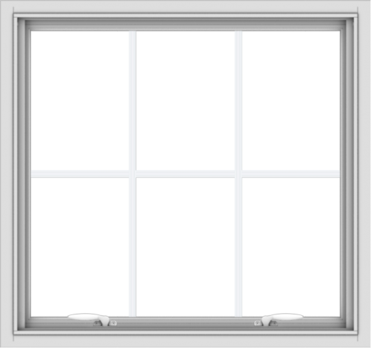 WDMA 32x30 (31.5 x 29.5 inch) White uPVC Vinyl Push out Awning Window with Colonial Grids Interior