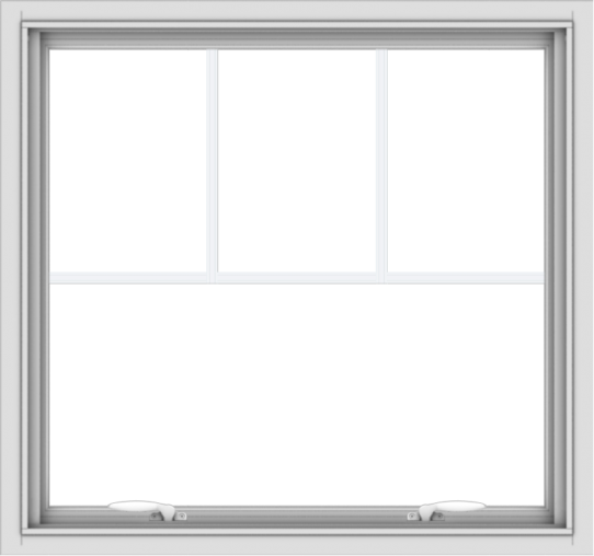 WDMA 32x30 (31.5 x 29.5 inch) White uPVC Vinyl Push out Awning Window with Fractional Grilles