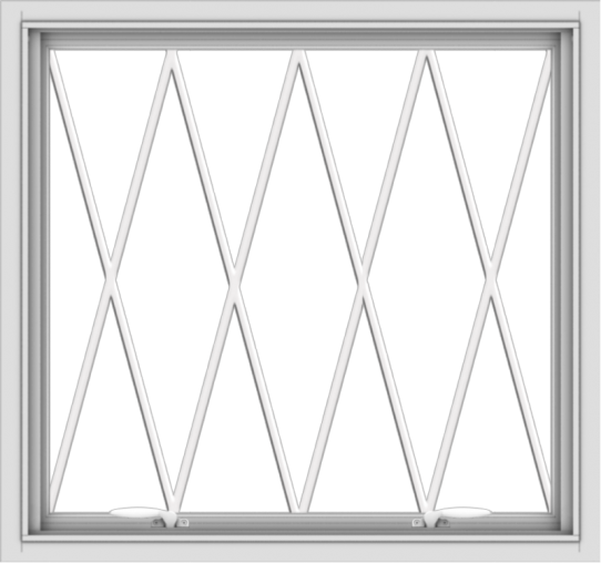 WDMA 32x30 (31.5 x 29.5 inch) White uPVC Vinyl Push out Awning Window without Grids with Diamond Grills