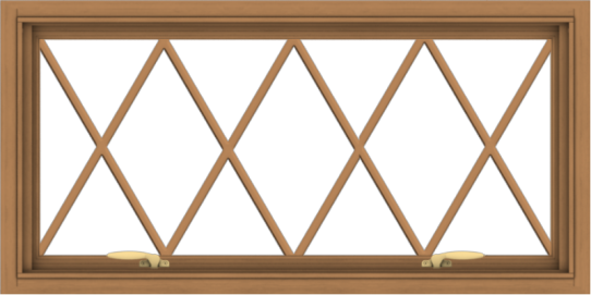 WDMA 40x20 (39.5 x 19.5 inch) Oak Wood Green Aluminum Push out Awning Window without Grids with Diamond Grills