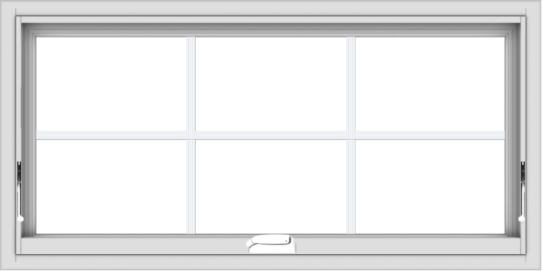 WDMA 40x20 (39.5 x 19.5 inch) White Vinyl uPVC Crank out Awning Window with Colonial Grids Interior