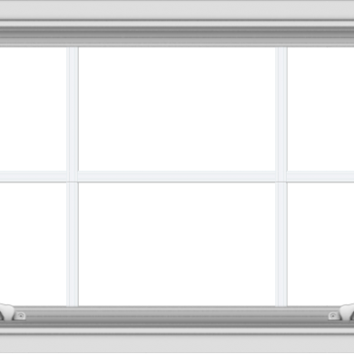 WDMA 40x20 (39.5 x 19.5 inch) White uPVC Vinyl Push out Awning Window with Colonial Grids Interior