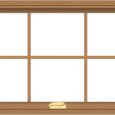 WDMA 40x24 (39.5 x 23.5 inch) Oak Wood Dark Brown Bronze Aluminum Crank out Awning Window with Colonial Grids Interior