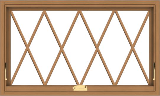 WDMA 40x24 (39.5 x 23.5 inch) Oak Wood Dark Brown Bronze Aluminum Crank out Awning Window without Grids with Diamond Grills