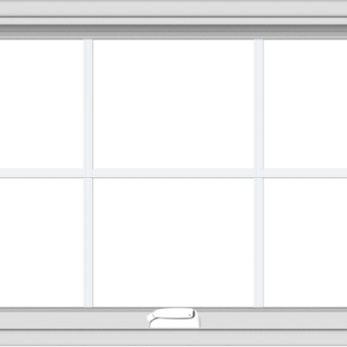 WDMA 40x24 (39.5 x 23.5 inch) White Vinyl uPVC Crank out Awning Window with Colonial Grids Interior