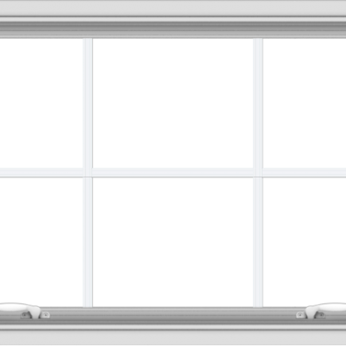 WDMA 40x24 (39.5 x 23.5 inch) White uPVC Vinyl Push out Awning Window with Colonial Grids Interior