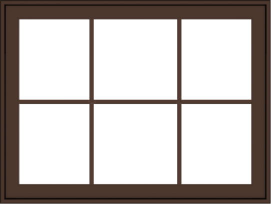 WDMA 40x30 (39.5 x 29.5 inch) Oak Wood Dark Brown Bronze Aluminum Crank out Awning Window with Colonial Grids Exterior