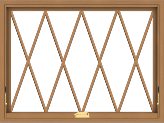 WDMA 40x30 (39.5 x 29.5 inch) Oak Wood Dark Brown Bronze Aluminum Crank out Awning Window without Grids with Diamond Grills